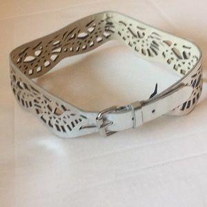 BCBG MaxAzria Silver Faux Leather Peplum Belt